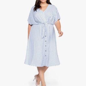 DEX (plus) Blue Polka Dot Dress 1X